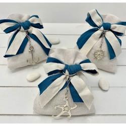 Sacchetto vuoto di cotone con doppio fiocco avio/avorio e Portachiavi 3 modelli assortiti