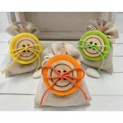 Sacchetto vuoto tela avorio con molletta maxi bottone in tre colori assortiti