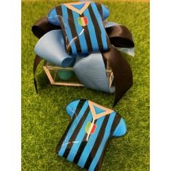 Scatolina plexi vuota con nastro nero/azzurro e Maglia calcio di vetro magnete