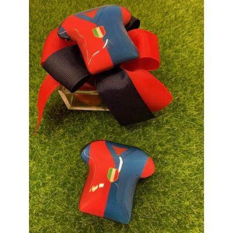 Scatolina plexi con nastro rosso/blu e Maglia calcio di vetro magnete