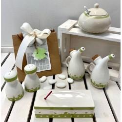 Set di 4 bomboniere in ceramica confezionate