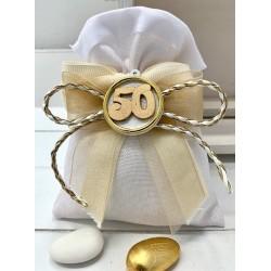 Sacchetto vuoto tessuto bianco con composè nastri e 50° legno