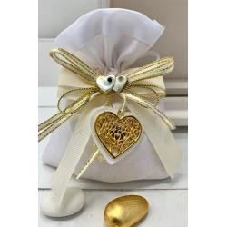 Sacchetto vuoto tessuto bianco con composè nastri e cuore pendente