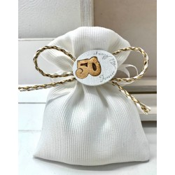 Sacchetto vuoto tessuto bianco con fiocco cordoncino oro e 50° legno