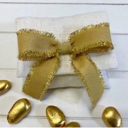 Busta di lino vuota con nastro grosgrain sfrangiato Oro