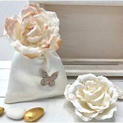 Sacchetto di raso vuoto con Farfalla strass e Rosa 2 colori assortiti