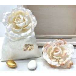 Sacchetto di raso vuoto con 50° strass e Rosa 2 colori assortiti