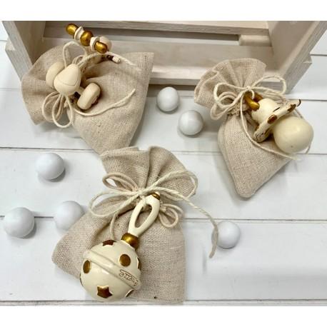 Sacchetto tessuto con Triciclo, Sonaglino e Ciuccio assortiti confezionato