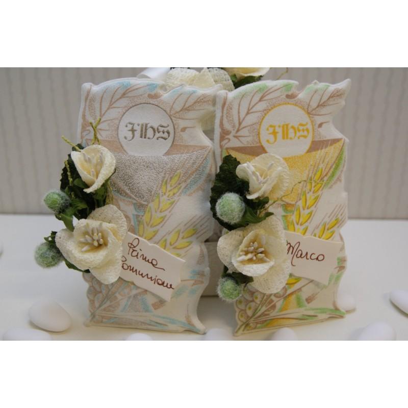 Pergamena Matrimonio Simbolico : Pergamena portaconfetti con fiori e biglietto aelle