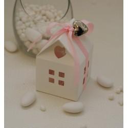 Casetta carta vuota con cuoricino e nastrino 10mm gros grain Rosa