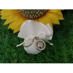 Sacchetto linone bianco vuoto con Portachiavi metallo pallone