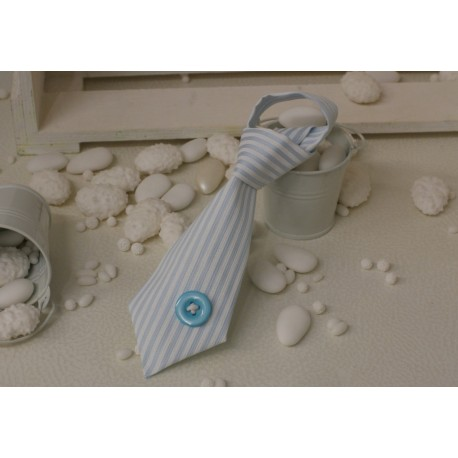 Cravattina vuota tessuto piquet rigato Celeste con bottone