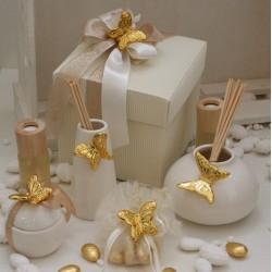 Spilla Farfalla porcellana con sacchetto tondo vuoto organza e glitter oro