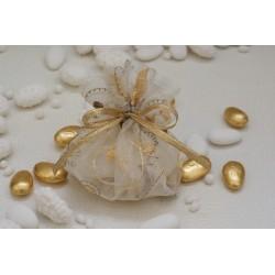 Saccotto vuoto Organza ricamata con fili oro e bronzo innastrato con nastrino oro