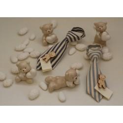 Cravattina vuota tessuto rigato Celeste con molletta di legno con Orsetto