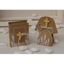 Vangelo Comunione di carta vuoto con Croce di legno e legatura similpelle