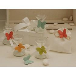 Sacchetto Vuoto di Linone Avorio con Farfalla porcellana 4 colori assortiti