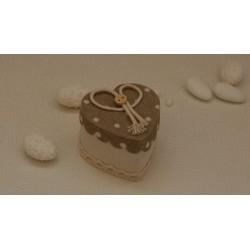 Scatolina a cuore vuota in tessuto pois Ecrù con fiocco e bottoncino